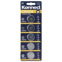 Konnect CR2016 Lithium Button Battery - 3V - Pack of 5