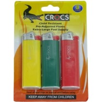 Crocs Premium Pocket Lighter with Pre-Adjusted Flame - Assorted Colours - Pack of 3
