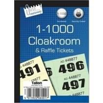 Just Stationery 1-1000 Cloakroom & Raffle Tickets - Assorted Colours - 14.5 x 11cm