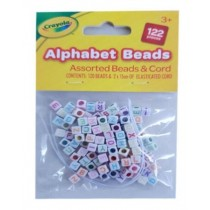 Crayola Alphabet Bracelets - Assorted Beads & Cord - Pack of 122 Pieces