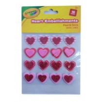 Crayola Peel & Stick Heart Embellishments - Assorted Shapes - Pack of 16