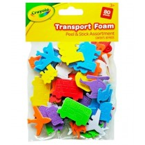 Crayola Peel & Stick Transport Foam - Assorted Shapes & Colours - Pack of 80 Pieces