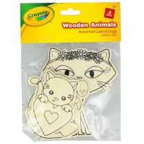 Crayola Wooden Animals - Assorted Cats & Dogs - Pack of 3
