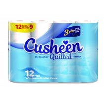 Cusheen Quilted Luxury Super Soft Toilet Paper Roll - 3 Ply - Pack Of 12