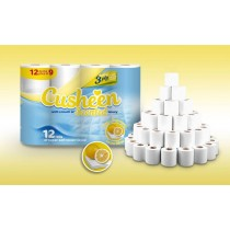 Cusheen Quilted Scented Luxury Super Soft Toilet Paper Roll - Lemon Citrus - 3 Ply - Pack Of 12