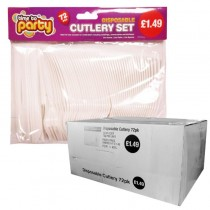 Disposable Plastic Cutlery - Pack of 72 - Price Marked £1.49