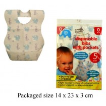 Disposable Baby Bibs With Pockets - Pack Of 5