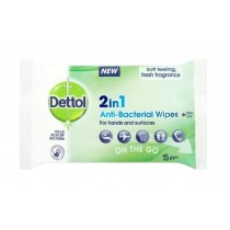 Dettol 2-in-1 Anti-Bacterial On-the-Go Wipes for Hands & Surfaces - Dermatologically Tested - Pack of 15 - Exp: 06/22