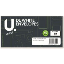 U Send DL Peal & Seal Envelopes - White - 80GSM - 22 x 11cm - Pack Of 40