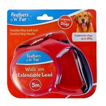 Feathers 'n' Fur - Walk'em Extendable Dog Lead with Stop Lock & Grip Handle - 5 Metre