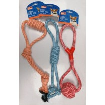 Pet Touch Doggy Play Rope Dog Toy - 41 x 13cm - Assorted Colours