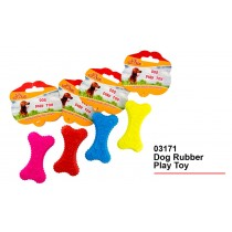 Dog Rubber Play Toy - 4 Colours - Colours May Vary