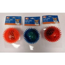 Pet Touch Double Doggy Play TPR Spike Ball with Tennis Ball Inside - Assorted Colours