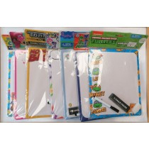 Double Sided Kids Dry Erase Art Board with Marker, Eraser and Chalk - Assorted Designs - 25.5 x 20.5cm