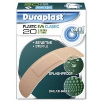 DURAPLAST PLASTIC EVA CLASSIC OUTER STERILE PLASTERS - PACK OF 20 - 2 SIZES STRIPS