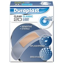 DURAPLAST CLEAR CLASSIC STERILE GENTLE HEALING PLASTERS - PACK OF 20 - 2 SIZES STRIPS