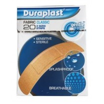 DURAPLAST FABRIC CLASSIC STERILE GENTLE HEALING PLASTERS - PACK OF 20 - 2 SIZES STRIPS