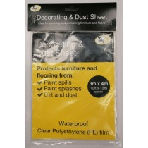 Tidyz Waterproof Decorating & Dust Sheet - Clear - 3m x 4m