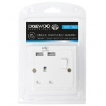 Daewoo Electricals Single Switched Socket with 2X USB Ports - 13A - 250V