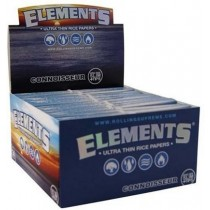 Elements Ultra Thin Rice Cigarette Papers - Connoisseur - King Size Slim + Tips - Box Of 24