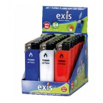 Exis Jet Turbo Flame Windproof Lighters With Led Light - Pack Of 24
