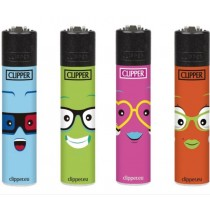 Clipper Classic Large Reusable Lighters - Faces 6 - Assorted Colours & Designs