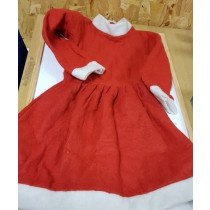 Little Girls Father Christmas Outfit - Dress In Red With White Trimming