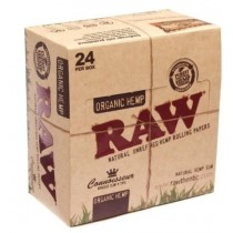Raw Natural Unrefined Hemp Rolling Papers - Connoisseur King Size Plus Tips - Organic Hemp - Pack Of 24