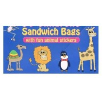 Childrens Sandwich Bags With Fun Animal Stickers - Pack Of 60