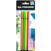 Fineliner Pens - Vibrant Mixed Colours - Pack Of 4