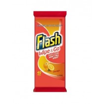 Flash Easy Clean Wipe & Go Stronger & Softer Wipes - Orange - Pack of 40