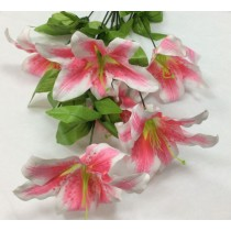 Artificial Silk Flowers - Stargazer Lilly  - Not Assembled Colours May Vary