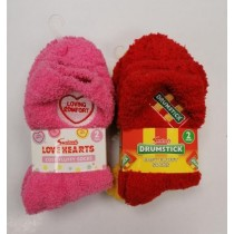 Swizzels Kids Cosy Fluffy Socks - Pack of 2 Pairs - Assorted Design & Colours
