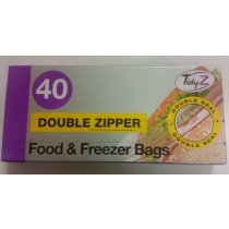 Tidyz Double Zipper Food And Freezer Bags - Pack Of 40