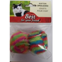 Furry Coloured Pet Cat Toy Balls - Pack of 2