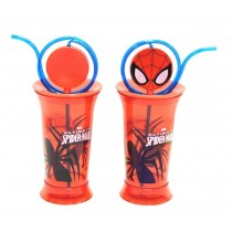 Marvel Ultimate Spider Man Glass with Straw & Disc for Kids