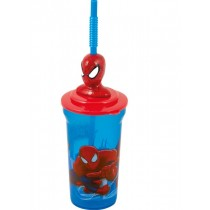 Marvel Ultimate Spider Man 3D Tumbler Glass with Figure for Kids - For Ages 3+