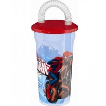 Marvel Ultimate Spider Man Glass with Straw for Kids