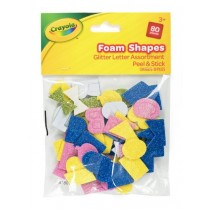 Crayola Peel & Stick Glitter Letter Foam Shapes - Assorted Colours & Sizes - For Ages 3+ - Pack of 80