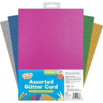 Creator Zone A4 Glitter Cards - Assorted Colours - Pack of 8