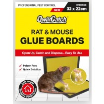 Qwik Catch Poison Free Rat & Mouse Glue Boards - 32 x 22cm