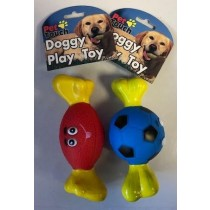 Pet Touch - Squeaky Doggy Play Toy Funny Sport Bone - Designs Vary