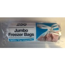 Jumbo Large Freezer Bags With Tie Handles - 32cm x 40cm - Pack Of 250