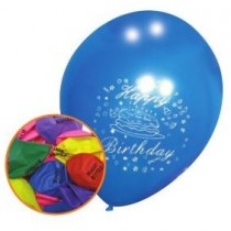 Happy Birthday Balloons - Pack Of 12 - Variety Of Colours