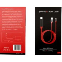 LIGHTNING HDTV CABLE ADAPTOR - VIDEO AND CHARGE - PLUG AND PLAY - 2 METRES