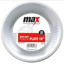Disposable Heavy Duty Plastic Plates - 10 Inch - Pack Of 50