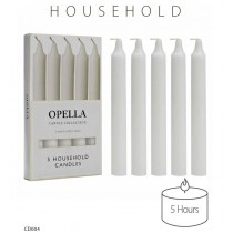 Opella Household Candles - White - Pack Of 5