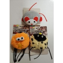 Pet Touch Vibrating Pull String Furry Cat Toy - Designs And Colours May Vary - 8Cm X 10Cm