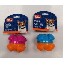 Pet Touch TPR Squeaky 2 Colour Ball Doggy Play Toy - Assorted Colours - 8cm