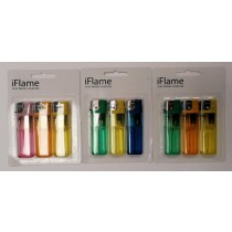 Iflame Electronic Cigarette Lighters - Assorted Colours - Pack Of 3